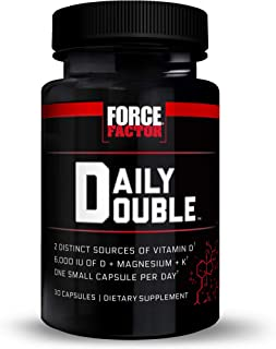 Force Factor Daily Double Vitamin D Supplement, Multi-System Support for Skin, Heart, Bone, Teeth, Immune, and Joint Healt...