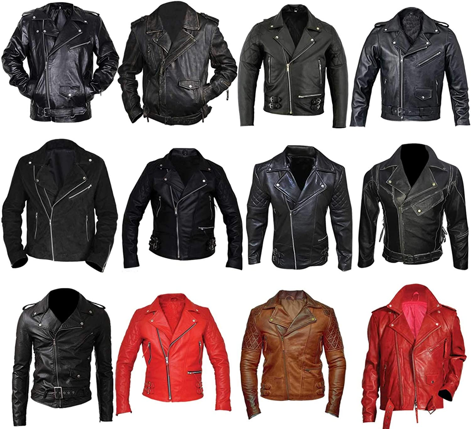 Mens Brando Biker Quilted Diamond Vintage Classic Motorcycle Distressed Leather Jacket