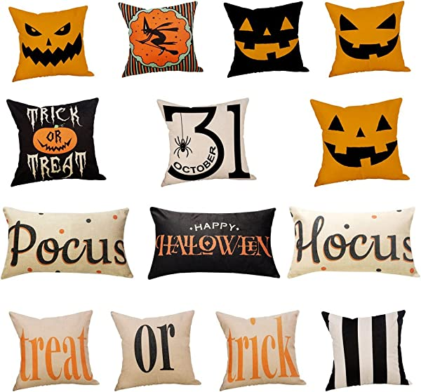 Halloween Pillow Cases Linen Sofa Pumpkin Ghosts Trick Treat Spider Web And Witch Home Decor Clearance Waist Throw Cushion Cushion Cover Hidden Zipper Cushion Cover Car Sofa Home Decor J