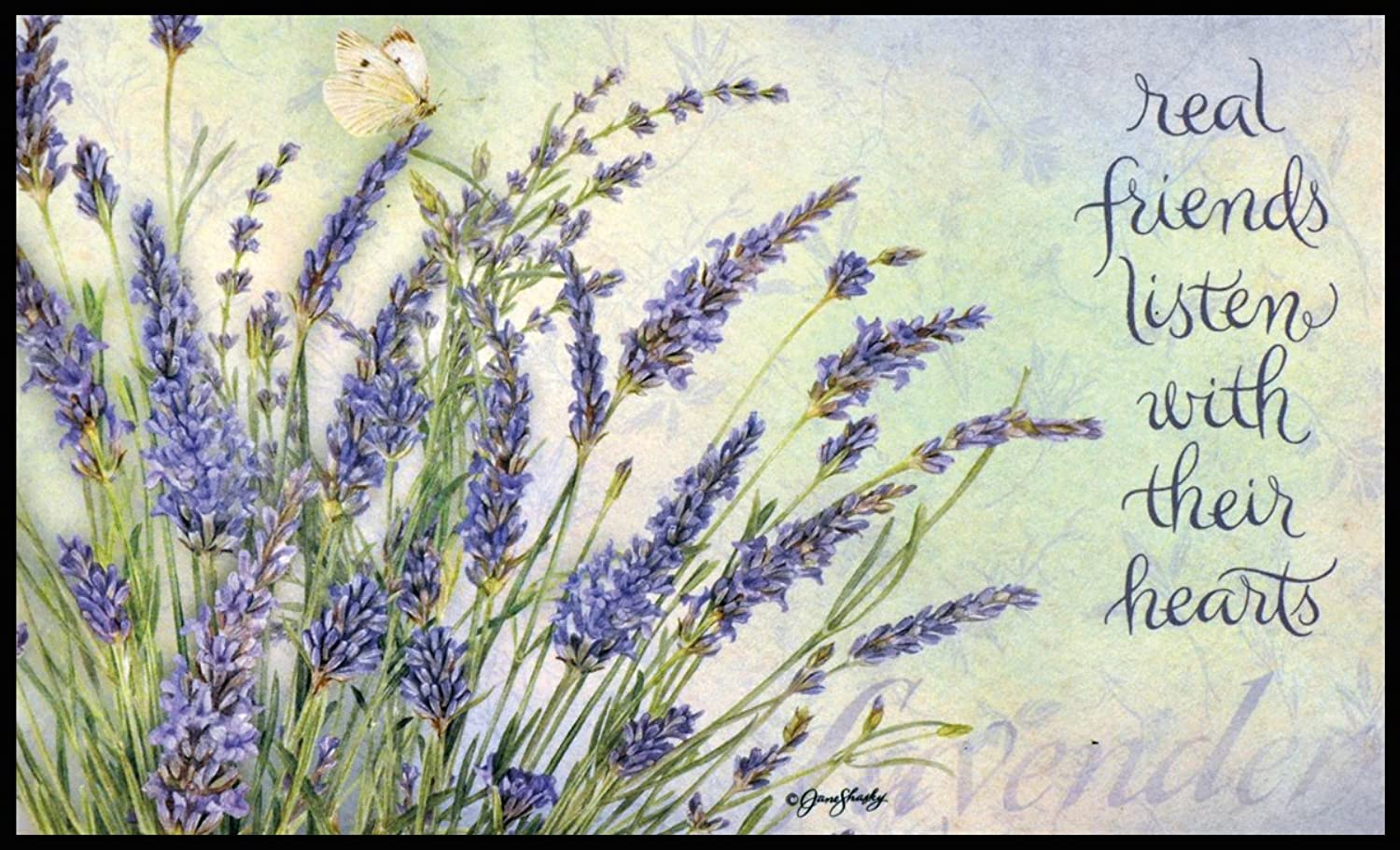 LANG - Indoor Outdoor Door Mat - Lavendar, Exclusive Artwork by Jane Shasky - 100% Polyester - Slip-Resistant Rubber Backing - 18  h x 30  w