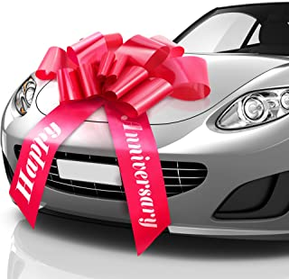 Zoe Deco Happy Anniversary Car Bow (Red, 30 inch), Giant Gift Bow Pre-Printed with Happy Anniversary, Big Bow for Car, Ann...