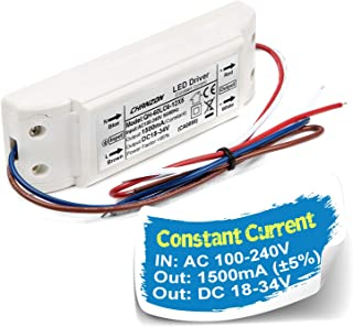 Chanzon LED Driver 1500mA (Constant Current Output) 18V-34V (Input 100-240V AC-DC) (6-10) x5 30W 35W 40W 45W 50W Power Supply 1500 mA Lighting Transformer for High Power 50 W COB Chips (Plastic Case)