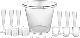 Party Essentials 151 Piece Elegant New Year's Eve Celebration Kit with X-Large Ice Bucket, Clear