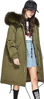 Women's Winter 90% White Duck Down Jacket Oversize Long Coat Real Raccoon Fur Hooded Parka