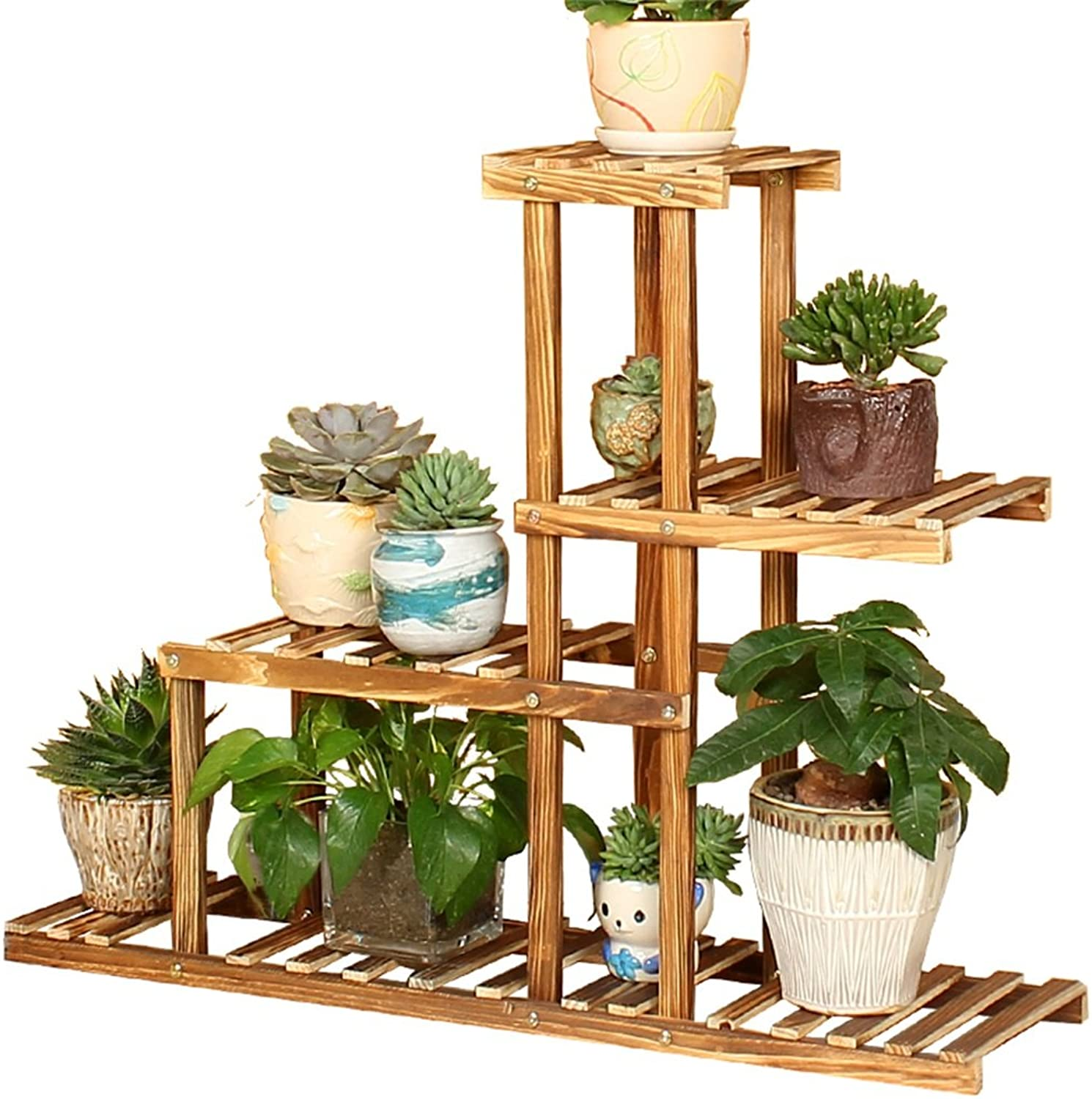 Plant Storage Rack Multi-Layer Wooden Flower Stand, Plant Display Rack Ladder-Pot Rack Storage Rack Display Stand - Indoor and Outdoor use (Design   A)
