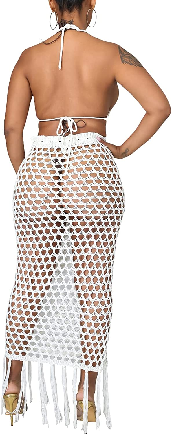 Bluewolfsea Womens Sexy 2 Piece Crochet Outfits Tassel Beach Cover Up Halter Strappy Bikini Top and Maxi Skirt Set