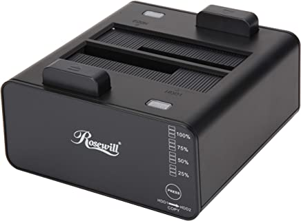 """Rosewill Dual Bay Docking Station Enclosure USB 3.0 for 2.5""""/3.5"""" SATA III HDD and SSD External Hard Drive Clone Without Computer - RX235"""