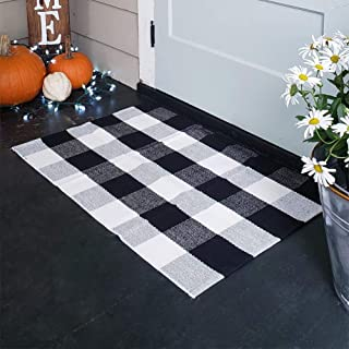 KaHouen Cotton Buffalo Plaid Rugs, Buffalo Check Rug, 23.6''x35.4'', Checkered Plaid Rug, Check Plaid Area Rug for Kitchen/Bathroom/Laundry Room/Bedroom ( Black and White Porch Rugs)
