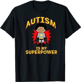 AUTISM IS MY SUPERPOWER TShirt Superhero Boy Black Hair Walk