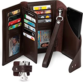 Marsyella RFID Wallet for Women with Wrist Strap - Credit Card & Passport Holder for Women - Large Brown Wristlet Wallet with Cell Phone Holder included