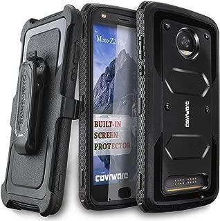 Moto Z2 Play / Z2 Force Case, COVRWARE [Aegis Series] w/Built-in [Screen Protector] Heavy Duty Full-Body Rugged Holster Armor Case [Belt Swivel Clip][Kickstand] for Moto Z2 Play / Z2 Force, Black