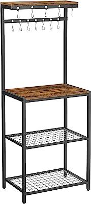 VASAGLE レンジ台 大型レンジ対応 レンジボード 食器棚キッチン収納 12個S字ラックを付き 高さ151.5cm KKS021