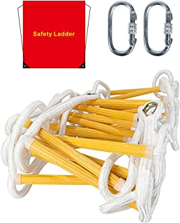 Emergency Fire Escape Ladder Flame Resistant Safety Rope Ladder with Hooks Fast to Deploy & Easy to Use Compact & Easy to ...