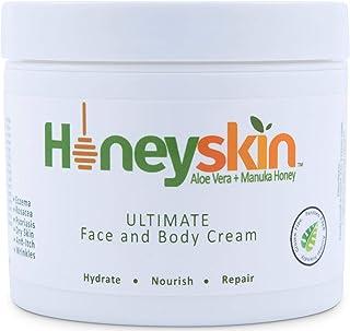 Face & Body Cream Moisturizer - Nourishing Aloe Vera + Manuka Honey for Rosacea Eczema Psoriasis Rashes Itchiness & Redness - Organic & Natural Cracked Skin Relief - Anti Aging & Anti Wrinkle (8 oz)