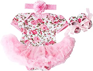 Baby Girls 3 Piece Sets Romper Dress Shoes and Headband Rose Flower Outfits Clothes