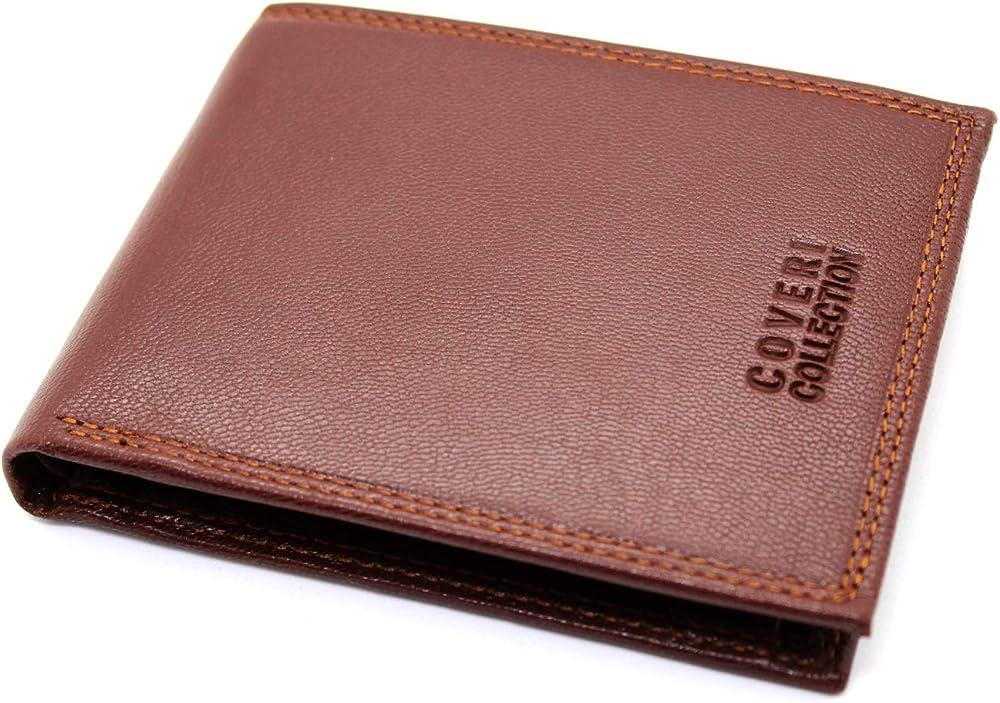 Enrico coveri, portafoglio in pelle da uomo, porta carte di credito 173A
