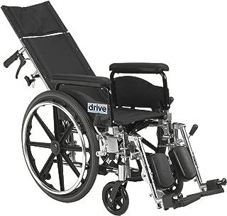 Drive Medical Viper Plus GT Full Reclining Wheelchair, Detachable Full Arms, 18
