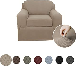 MAYTEX Pixel Ultra Soft Stretch 2 Piece Arm Chair Furniture Cover Slipcover, Sand