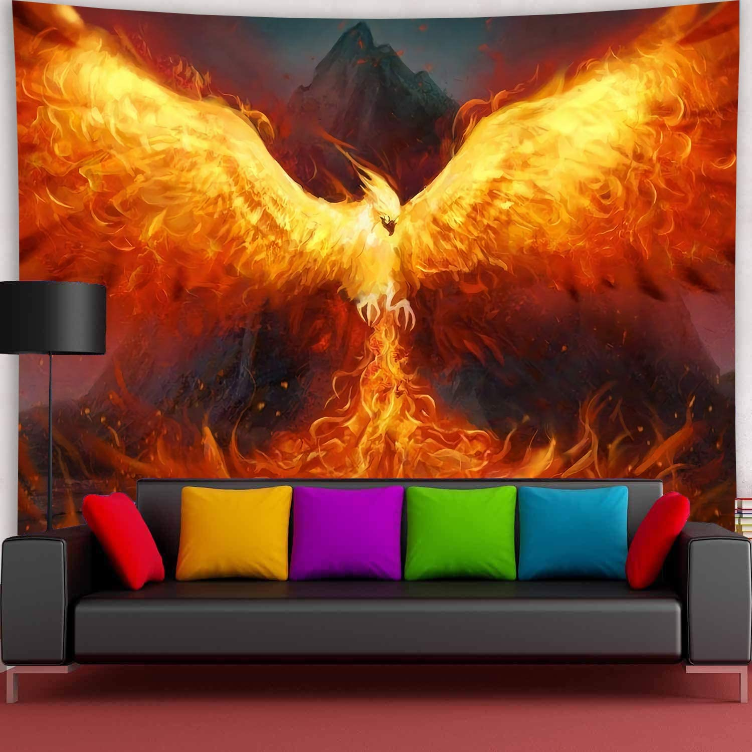 Simsant Secular Bird Tapestry Max 47% supreme OFF Phoenix Flame to the S Flying