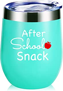 Teacher Gifts.After School Snack Wine Glass Tumbler With Funny Sayings.Perfect Year End Graduation Gifts,Thank You Gifts for Teachers,Teacher Appreciation Gifts Mug