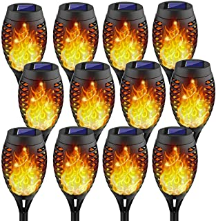 Kurifier 12Pack Solar Torch Light with Flickering Flame, Solar Lights Outdoor Decorative, Landscape Romantic Festive Water...