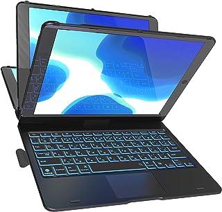 Cooper Cases Flex Book Ittou タッチパッド付キーボードケース 【 iPad 10.2 第8世代 / 第7世代 / Air3 / Pro 10.5 】360度 回転 10色バックライト 日本語かな (ブラック)
