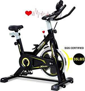 Tiptiper Indoor Cycling Bike Stationary Exercise Bike with 35 lb Silent Flywheel, Sensor and LCD Monitor, Comfortable Seat Cushion, Phone/IPad Holder for Home Office