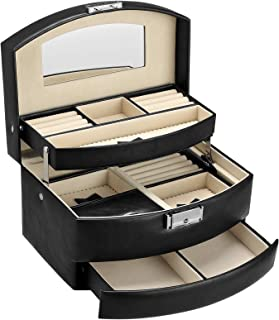 SONGMICS Boîte à bijoux 3 niveaux, Mallette à bijoux voyage, Rangement à bijoux verrouillable, Coffret avec miroir, pour b...