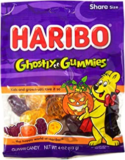 Haribo Halloween Ghostly Gummies Fruit Flavored Candy, Pack of 3