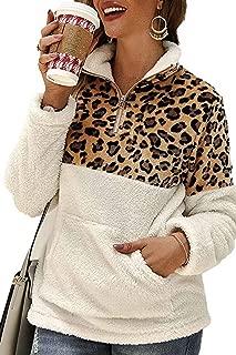 TabbyLove Women's Half Zip Sweatshirts Sherpa Pullover Fuzzy Fleece Winter Coats with Pockets