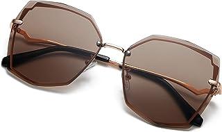 نظارات شمسية نسائية عصرية من S.NOTIO بتصميم مضلع كبير الأزياء متدرجة UV400 بإطار معدني عدسات مثمنة