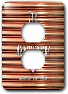 3dRose LLC lsp_154436_6 Seventh Wedding Anniversary Gift Copper Celebrating 7 Years Together Seventh Anniversaries Seven 2 Plug Outlet Cover