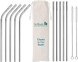 Re4Earth Roestvrijstalen rietjes, 10 herbruikbare metalen rietjes met 2 reinigingsborstels en opbergdoos, geschikt voor le...