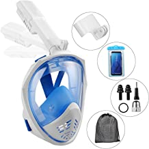 WISSBLUE Snorkel Mask 180° Panoramic View Breathe Free For Adults And Kids, Snorkeling Mask Full Face Anti-Fog Anti-Leak Design With Detachable GoPro Mount