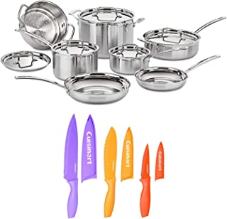 Cuisinart MCP-12N MultiClad Pro 3-Ply Stainless Steel Cookware Set with Nonstick Color Chef Knife Set (18-Piece Set) (2 It...