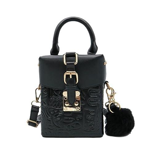 6ead20ba156 ZEN - Women Box Mini Handbag Retro Crossbody Clutch Bag Rivets Purse with  Fur