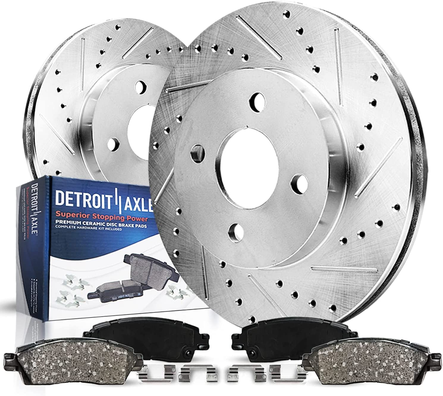 Detroit Axle - 240mm Inexpensive Drilled Brake Rear Slotted Rotors Charlotte Mall
