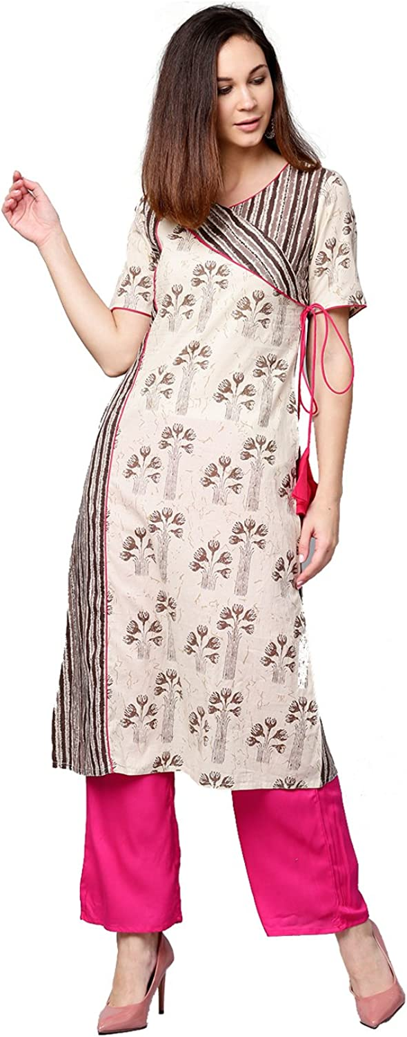 Jaipur Kurti Women Off White & Rani Ethnic Motifs ALine Cotton Kurta With Palazzo