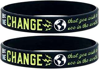(10-pack) Be the Change that You Wish to See in the World - Inspirational Awareness Wristbands for Any Cause - Wholesale Bulk Pack of 10 Silicone Bracelets in Unisex Adult Size