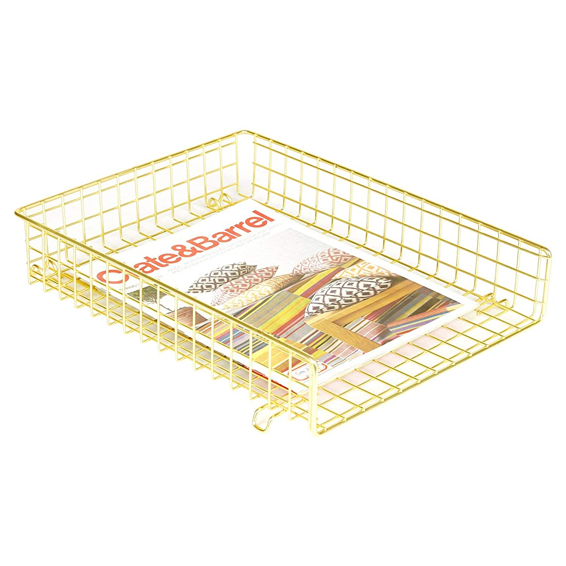 DESIGNA Office Supplies Metal Stackable File Document Letter Tray Organizer for Desk, Grid Wire Letter Tray, Single Pack,Gold