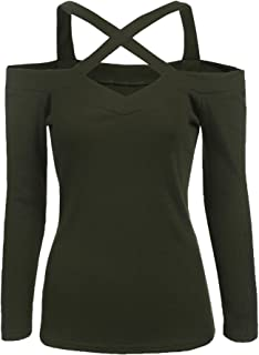 Zeagoo Women's Criss Cross Shoulder Top 3 4 Sleeve V Neck T Shirt Sexy Blouse
