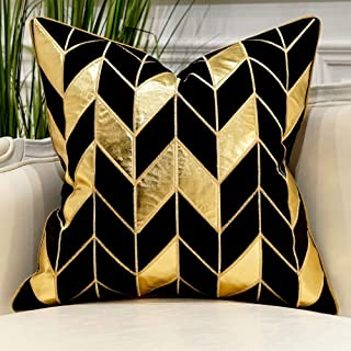 Avigers 18 x 18 Inches Black Gold Striped Cushion Cases Luxury European Throw Pillow Covers Decorative Pillows for Couch Living Room Bedroom Car