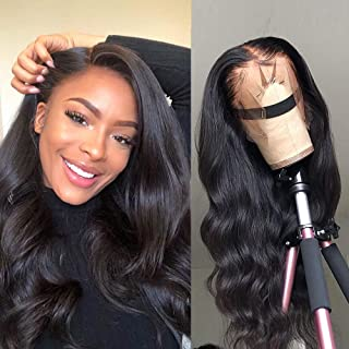 LSY Hair 360 Body Wave Lace Frontal Wigs Human Hair Brazilian Black Women 150% Density Pre Plucked With Baby Hair 100% Unprocessed Virgin Human Hair (18 inch)