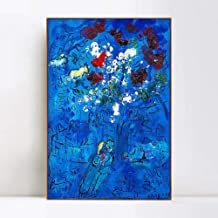 INVIN ART Framed Canvas Giclee Print Art Le Bouquet Au Dessus De Vence Flower by Marc Chagall Wall Art Living Room Home Office Decorations(Wood Color Slim Frame,24