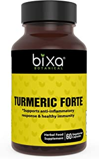 Turmeric Forte Capsules with Curcuminoids - Helps to Control Chronic Allergic Reactions and Cough, Common Cold, Herbal Blood Purifier, Immunity Booster – Bixa Botanical (450mg 60 Veg Capsules)