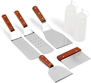Kenley Griddle Spatula & Scraper Set - 7-Piece Tools & Accessories for Flat Top Grill - Outdoor BBQ Electric Hibachi - Stainless Steel Professional Non-Stick Turner Cooking Kit