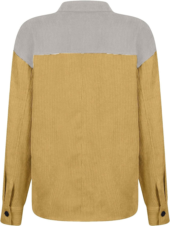 Women Corduroy Shirt Jacket Color Block Patchwork Buttoned Cardigan Long Sleeve Lapel Collar Casual Loose Tops