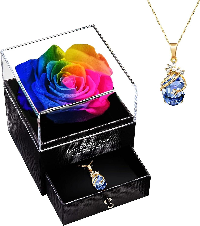 Flores Preservada Naturales Hecha a Mano, Real Rosa Eterna con Collar, Románticos para Esposa/Novia para Día de San Valentín/Aniversario Bodas/Cumpleaños