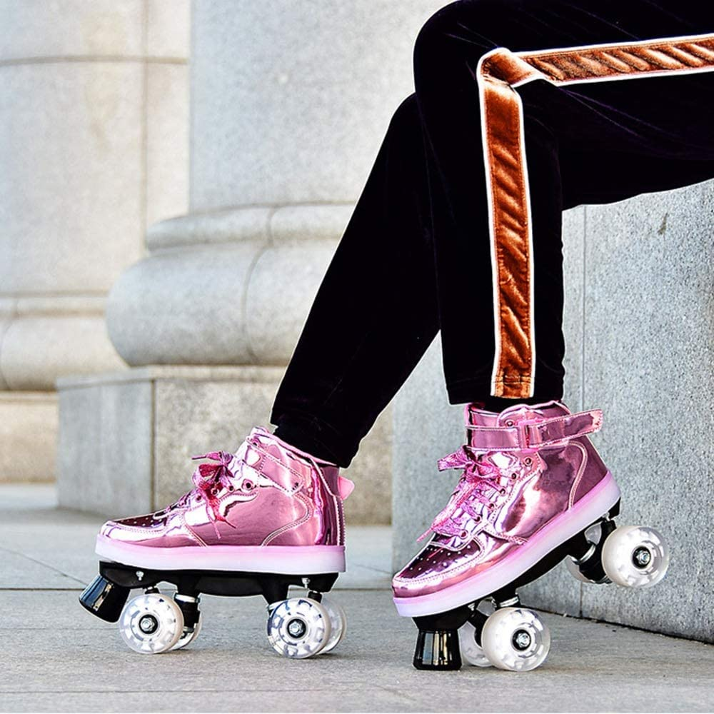 Roller Skates for Woman,Double Row 4 Wheel Roller Blade Adults,Outdoor Quad Skates High Top LED Lighted Wheels Cyclone Roller Skate Beginner Color : 1, Size : 33