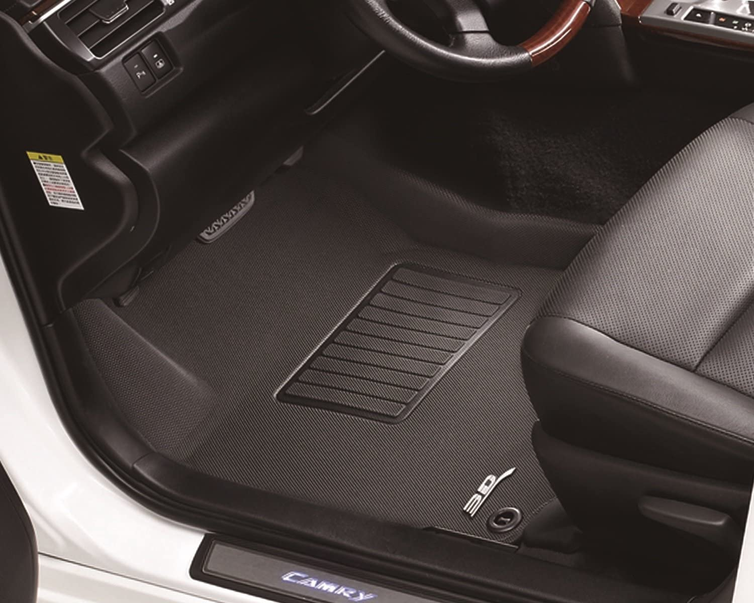 1st /& 2nd Row, Black 3D MAXpider L1TY23701509 Toyota Camry 2018-2020 Custom Fit All-Weather Car Floor Mats Liners Kagu Series